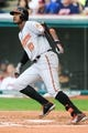 Sep 2, 2013; Cleveland, OH, USA; Baltimore Orioles center fielder Adam Jones (10) at bat against the Cleveland Indians at Progressive Field. Mandatory Credit: Ken Blaze-USA TODAY Sports