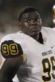 Aug 31, 2013; Columbia, MO, USA; Murray State Racers defensive tackle Jerrold Frazier (99) watches play on the sidelines during the second half of the game against the Missouri Tigers at Faurot Field. Missouri won 58-14. Mandatory Credit: Denny Medley-USA TODAY Sports