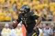 Aug 31, 2013; Columbia, MO, USA; Missouri Tigers quarterback James Franklin (1) looks to pass during the first half of the game against the Murray State Racers at Faurot Field. Missouri won 58-14. Mandatory Credit: Denny Medley-USA TODAY Sports