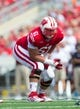 Aug 31, 2013; Madison, WI, USA; Wisconsin Badgers offensive lineman Tyler Marz (61) during the game against the Massachusetts Minutemen at Camp Randall Stadium.  Wisconsin won 45-0.  Mandatory Credit: Jeff Hanisch-USA TODAY Sports