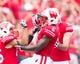 Aug 31, 2013; Madison, WI, USA; Wisconsin Badgers running back Corey Clement (6) celebrates scoring a touchdown during the game against the Massachusetts Minutemen at Camp Randall Stadium.  Wisconsin won 45-0.  Mandatory Credit: Jeff Hanisch-USA TODAY Sports