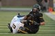 Aug 31, 2013; Columbia, MO, USA; Missouri Tigers wide receiver Jaleel Clark (14) is tackled by Murray State Racers cornerback Darian Yahyavi (8) during the first half of the game at Faurot Field. The Tigers won 58-14. Mandatory Credit: Denny Medley-USA TODAY Sports