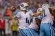 Aug 29, 2013; Minneapolis, MN, USA; Tennessee Titans quarterback Ryan Fitzpatrick (4) passes against the Minnesota Vikings in the second quarter at Mall of America Field at H.H.H. Metrodome. Mandatory Credit: Bruce Kluckhohn-USA TODAY Sports