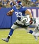 Aug 24, 2013; East Rutherford, NJ, USA; New York Giants tight end Brandon Myers (83) after a reception during the first half at MetLife Stadium. Mandatory Credit: Jim O'Connor-USA TODAY Sports