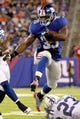 Aug 18, 2013; East Rutherford, NJ, USA; New York Giants running back Andre Brown (35) leaps during the second quarter of a preseason game at MetLife Stadium. Mandatory Credit: Brad Penner-USA TODAY Sports
