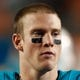 Aug 24, 2013; Miami Gardens, FL, USA;  Miami Dolphins quarterback Ryan Tannehill (17) in the second half against the Tampa Bay Buccaneers at Sun Life Stadium. Tampa Bay won 17-16.  Mandatory Credit: Robert Mayer-USA TODAY Sports