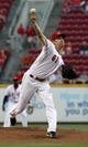 Sep 4, 2013; Cincinnati, OH, USA; Cincinnati Reds starting pitcher Bronson Arroyo throws against the St. Louis Cardinals in the first inning at Great American Ball Park. Mandatory Credit: David Kohl-USA TODAY Sports