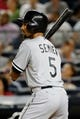 Sep 4, 2013; Bronx, NY, USA;  Chicago White Sox shortstop Marcus Semien (5) at bat during the eighth inning against the New York Yankees at Yankee Stadium. Yankees won 6-5.  Mandatory Credit: Anthony Gruppuso-USA TODAY Sports