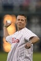 Sep 4, 2013; Philadelphia, PA, USA; Philadelphia Union manager John Hackworth throws out the first pitch prior to the game between the Philadelphia Phillies and the Washington Nationals at Citizens Bank Park. The Nationals defeated the Phillies 3-2. Mandatory Credit: Howard Smith-USA TODAY Sports