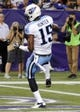 Aug 29, 2013; Minneapolis, MN, USA;  Tennessee Titans wide receiver Justin Hunter (15) scores a touchdown in the second quarter against the Minnesota Vikings at the Metrodome.   Mandatory Credit: Marilyn Indahl-USA TODAY Sports