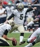 Aug 25, 2013; Houston, TX, USA; New Orleans Saints kicker Garrett Hartley (5) attempts a field goal during the second quarter against the Houston Texans at Reliant Stadium. Mandatory Credit: Troy Taormina-USA TODAY Sports