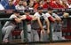 Sep 5, 2013; Cincinnati, OH, USA; St. Louis Cardinals players watch the game during the second inning against the Cincinnati Reds at Great American Ball Park. Mandatory Credit: Frank Victores-USA TODAY Sports