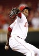 Sep 5, 2013; Cincinnati, OH, USA; Cincinnati Reds relief pitcher Aroldis Chapman (54) pitches during the ninth inning against the St. Louis Cardinals at Great American Ball Park. The Reds defeated the Cardinals 6-2. Mandatory Credit: Frank Victores-USA TODAY Sports
