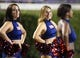 September 5, 2013; Greenville, NC, USA;  Florida Atlantic cheerleaders look on against East Carolina at Dowdy-Ficklen Stadium. East Carolina Pirates defeated the Florida Atlantic Owls 31-13. Mandatory Credit: James Guillory-USA TODAY Sports