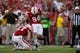 Aug 31, 2013; Lincoln, NE, USA; Nebraska Cornhuskers place-kicker Pat Smith, Sr., kicks the extra point against the Wyoming Cowboys at Memorial Stadium. Nebraska won 37-34. Mandatory Credit: Bruce Thorson-USA TODAY Sports