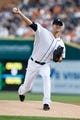 Aug 30, 2013; Detroit, MI, USA; Detroit Tigers starting pitcher Rick Porcello (21) pitches during the first inning against the Cleveland Indians at Comerica Park. Mandatory Credit: Rick Osentoski-USA TODAY Sports