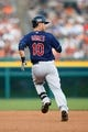Aug 30, 2013; Detroit, MI, USA; Cleveland Indians catcher Yan Gomes (10) runs the bases against the Detroit Tigers at Comerica Park. Mandatory Credit: Rick Osentoski-USA TODAY Sports