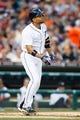 Aug 30, 2013; Detroit, MI, USA; Detroit Tigers second baseman Omar Infante (4) at bat against the Cleveland Indians at Comerica Park. Mandatory Credit: Rick Osentoski-USA TODAY Sports