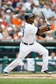 Sep 1, 2013; Detroit, MI, USA; Detroit Tigers right fielder Torii Hunter (48) at bat against the Cleveland Indians at Comerica Park. Mandatory Credit: Rick Osentoski-USA TODAY Sports