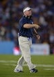 Aug 31, 2013; Pasadena, CA, USA; Nevada Wolf Pack coach Brian Polian reacts during the game against the UCLA Bruins at the Rose Bowl. Mandatory Credit: Kirby Lee-USA TODAY Sports