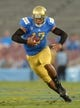Aug 31, 2013; Pasadena, CA, USA; UCLA Bruins quarterback Brett Hundley (17) scores on a 37-yard touchdown run in the first quarter against the UCLA Bruins at the Rose Bowl. Mandatory Credit: Kirby Lee-USA TODAY Sports