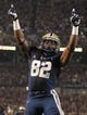 Sep 2, 2013; Pittsburgh, PA, USA; Pittsburgh Panthers tight end Manasseh Garner (82) celebrates after scoring on a four yard touchdown pass against the Florida State Seminoles during the first quarter at Heinz Field. The Florida State Seminoles won 41-13. Mandatory Credit: Charles LeClaire-USA TODAY Sports