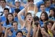 Aug 31, 2013; Pasadena, CA, USA; UCLA Bruins fans cheer during the game against the Nevada Wolf Pack at the Rose Bowl. UCLA defeated Nevada 58-20. Mandatory Credit: Kirby Lee-USA TODAY Sports