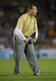 Aug 31, 2013; Pasadena, CA, USA; UCLA Bruins defensive coordinator Lou Spanos against the Nevada Wolf Pack at the Rose Bowl. UCLA defeated Nevada 58-20. Mandatory Credit: Kirby Lee-USA TODAY Sports