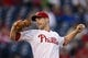 Sep 6, 2013; Philadelphia, PA, USA; Philadelphia Phillies pitcher Cliff Lee (33) delivers to the plate during the first inning against the Atlanta Braves at Citizens Bank Park. Mandatory Credit: Howard Smith-USA TODAY Sports