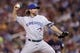 Sep 6, 2013; Minneapolis, MN, USA; Toronto Blue Jays pitcher R.A. Dickey (43) delivers a pitch during the fifth inning against the Minnesota Twins at Target Field. Mandatory Credit: Brace Hemmelgarn-USA TODAY Sports