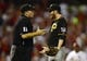 Sep 6, 2013; St. Louis, MO, USA; Pittsburgh Pirates relief pitcher Bryan Morris (29) argues with umpire Tony Randazzo (11) during the seventh inning at Busch Stadium. Mandatory Credit: Jeff Curry-USA TODAY Sports