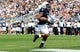 Sep 7, 2013; University Park, PA, USA; Penn State Nittany Lions running back Bill Belton (1) runs the ball for a touchdown during the second quarter against the Eastern Michigan Eagles at Beaver Stadium. Penn State defeated Eastern Michigan 45-7. Mandatory Credit: Matthew O'Haren-USA TODAY Sports