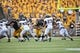 Sep 7, 2013; Iowa City, IA, USA; Iowa Hawkeyes running back Mark Weisman (45) carries the football against the Missouri State Bears at Kinnick Stadium.  Iowa beat Missouri State 28-14.  Mandatory Credit: Reese Strickland-USA TODAY Sports