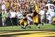 Sep 7, 2013; Iowa City, IA, USA; Missouri State Bears linebacker Jeremy Springer tackles Iowa Hawkeyes running back Mark Weisman (45) as he scores a touchdown at Kinnick Stadium.  Iowa beat Missouri State 28-14.  Mandatory Credit: Reese Strickland-USA TODAY Sports