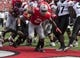 Sep 7, 2013; Columbus, OH, USA; Ohio State Buckeyes running back Jordan Hall (2) scores a touchdown against the San Diego State Aztecs at Ohio Stadium. Mandatory Credit: Greg Bartram-USA TODAY Sports