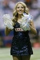 Sep 7, 2013; San Antonio, TX, USA; Texas-San Antonio Roadrunners cheerleader performs before the game against the Oklahoma State Cowboys at Alamodome. Mandatory Credit: Soobum Im-USA TODAY Sports