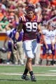 Sep 7, 2013; Blacksburg, VA, USA; Virginia Tech Hokies defensive end James Gayle (99) stands on the field during a timeout against the Western Carolina Catamounts at Lane Stadium. Virginia Tech defeated Western Carolina 45-3. Mandatory Credit: Jeremy Brevard-USA TODAY Sports
