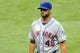 Sep 7, 2013; Cleveland, OH, USA; New York Mets starting pitcher Jonathon Niese (49) walks off the field after giving up five runs in the first inning against the Cleveland Indians at Progressive Field. Mandatory Credit: David Richard-USA TODAY Sports