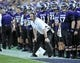 Sep 7, 2013; Evanston, IL, USA; Northwestern Wildcats head coach Pat Fitzgerald coaches against the Syracuse Orange during the first quarter at Ryan Field. Mandatory Credit: David Banks-USA TODAY Sports