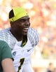 Sep 7, 2013; Charlottesville, VA, USA; Oregon Ducks wide receiver Josh Huff (1) reacts on the bench late in the fourth quarter. The Ducks defeated the Virginia Cavaliers 59-10 at Scott Stadium. Mandatory Credit: Bob Donnan-USA TODAY Sports