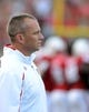 Sep 7, 2013; Raleigh, NC, USA; North Carolina State Wolfpack head coach Dave Doeren waits for the outcome of a reviewed play during the first half against the Richmond Spiders at Carter Finley Stadium. Mandatory Credit: Rob Kinnan-USA TODAY Sports