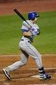 Sep 7, 2013; Cleveland, OH, USA; New York Mets center fielder Matt den Dekker (6) singles in the fifth inning against the Cleveland Indians at Progressive Field. Mandatory Credit: David Richard-USA TODAY Sports