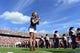 Sep 7, 2013; Charlottesville, VA, USA; Caroline Jones sings the national anthem before the game at Scott Stadium. Mandatory Credit: Bob Donnan-USA TODAY Sports