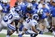 Sep 7, 2013; Memphis, TN, USA; Duke Blue Devils safety Dwayne Norman (40) tackles Memphis Tigers wide receiver Tyriq Patrick (11) during the game at Liberty Bowl Memorial. Mandatory Credit: Justin Ford-USA TODAY Sports
