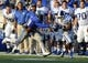 Sep 7, 2013; Memphis, TN, USA; Duke Blue Devils wide receiver Jamison Crowder (3) catches the ball against Memphis Tigers defensive back Reggis Ball (39) at Liberty Bowl Memorial. Mandatory Credit: Justin Ford-USA TODAY Sports