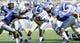 Sep 7, 2013; Memphis, TN, USA; Duke Blue Devils running back Juwan Thompson (23) carries the ball against the Memphis Tigers at Liberty Bowl Memorial. Mandatory Credit: Justin Ford-USA TODAY Sports