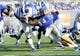 Sep 7, 2013; Memphis, TN, USA;Duke Blue Devils running back Juwan Thompson (23) carries the ball against the Memphis Tigers at Liberty Bowl Memorial. Mandatory Credit: Justin Ford-USA TODAY Sports
