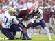 Sep 7, 2013; Starkville, MS, USA;  MIssissippi State Bulldogs wide receiver Joe Morrow (16) is tackled by Alcorn State Braves linebacker William Thomas (51) and his teammates at Davis Wade Stadium.  The Bulldogs defeated the Braves 51-7. Mandatory Credit: Marvin Gentry-USA TODAY Sports