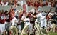 Sep 7, 2013; Raleigh, NC, USA;  North Carolina State Wolfpack players and coaches celebrate the game-winning field goal by kicker Niklas Sade (not pictured) against the Richmond Spiders at Carter Finley Stadium.  North Carolina State won 23-21. Mandatory Credit: Rob Kinnan-USA TODAY Sports