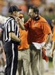 Sep 7, 2013; Auburn, AL, USA; Auburn Tigers head coach Gus Malzahn talks to an official during the second half against the Arkansas State Red Wolves at Jordan Hare Stadium.  Mandatory Credit: John Reed-USA TODAY Sports